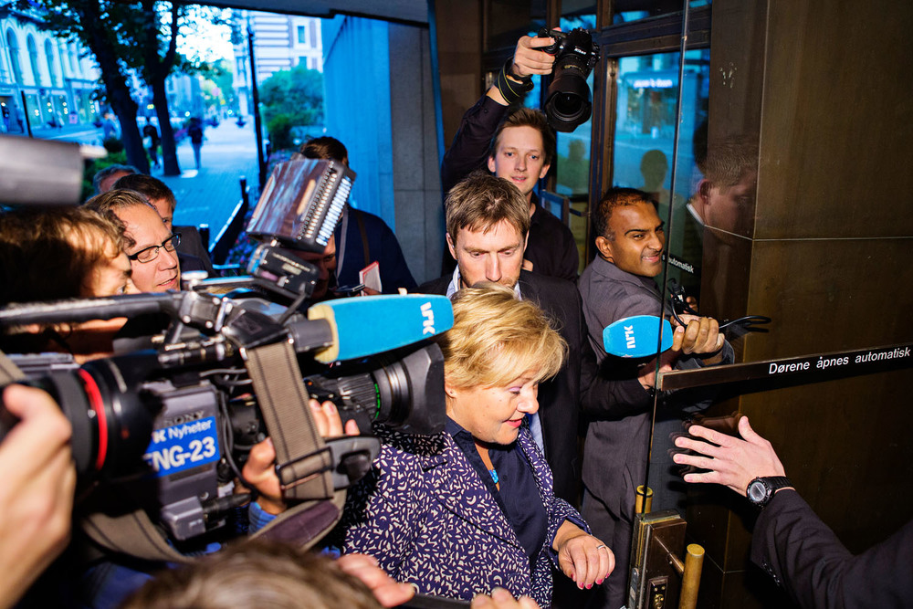 Erna Solberg, during election