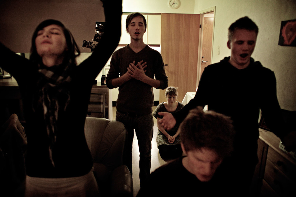 Prayers at a student's apartment.  Bergen, 2009.