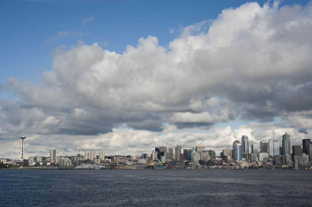 I visited my Aunt Lori, who lives near Seattle. This is the view from the ferry coming into the city.