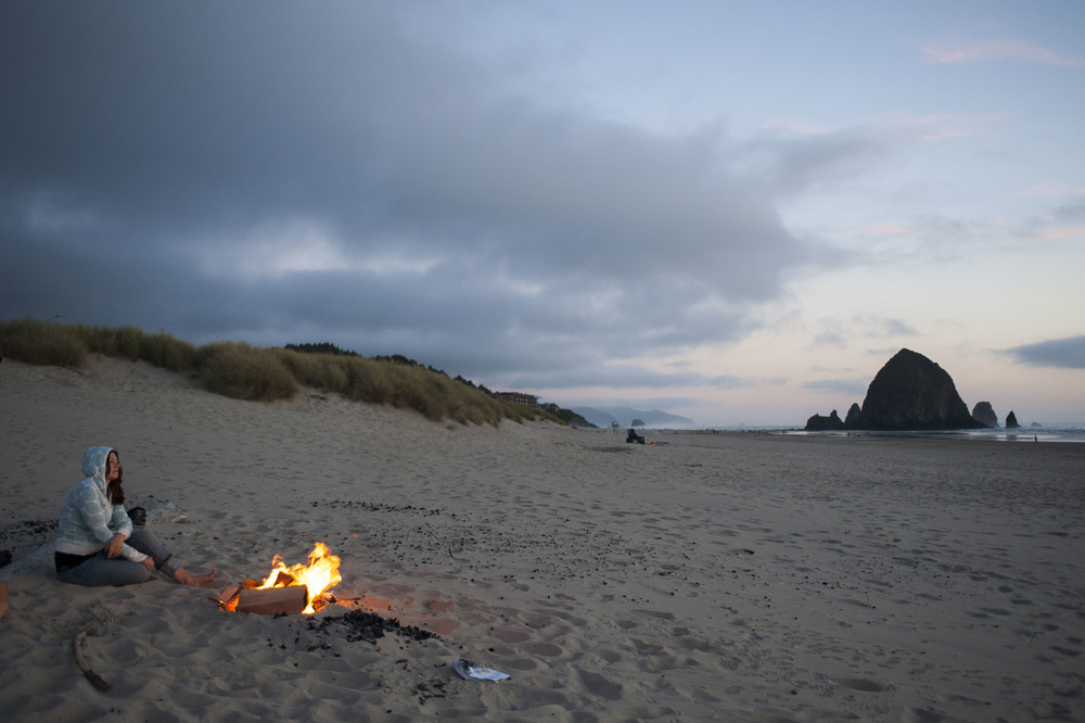 Nothing like a bonfire on the beach by the ocean.