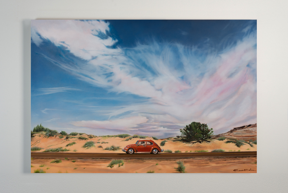 AVAILABLE Title: WANDERLUSTING THE WEST 30 X 40, Oil on Polylinen Framed