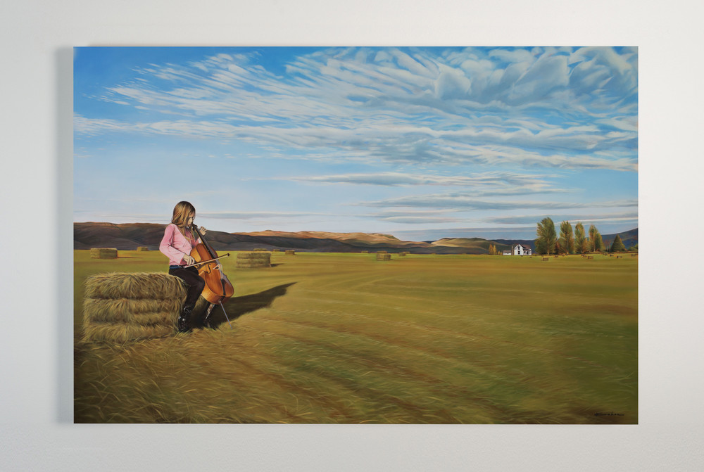 UNAVAILABLE - PERSONAL COLLECTION Title: FIELD OF DREAMS 40 X 60, Oil on Polylinen Framed