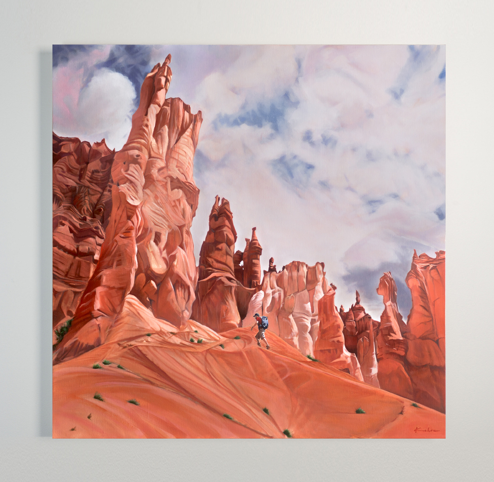 AVAILABLE  Title: Awe by Utah  40 x 40, Oil on Linen   Framed