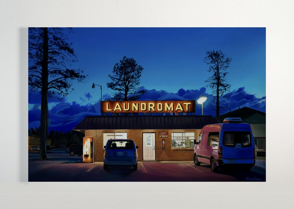 Title: LAUNDROMAT 26 X 40, Oil on Polylinen Available at Altamira Fine Art in Scottsdale, AZ December 4-16th