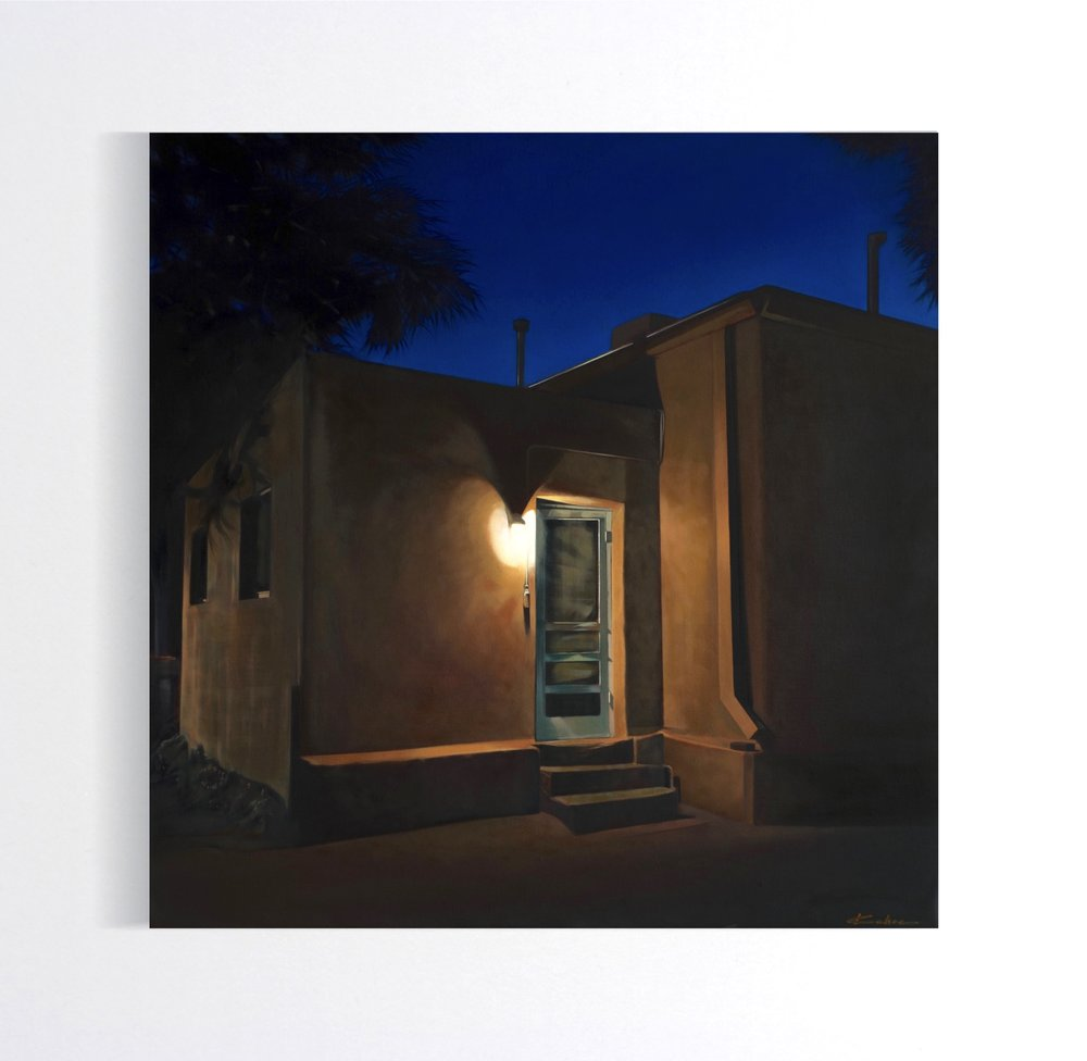 Title: SANTA FE BACK ALLEY 30 X 30, Oil on Linen Available at Altamira Fine Art in Scottsdale, AZ December 4-23