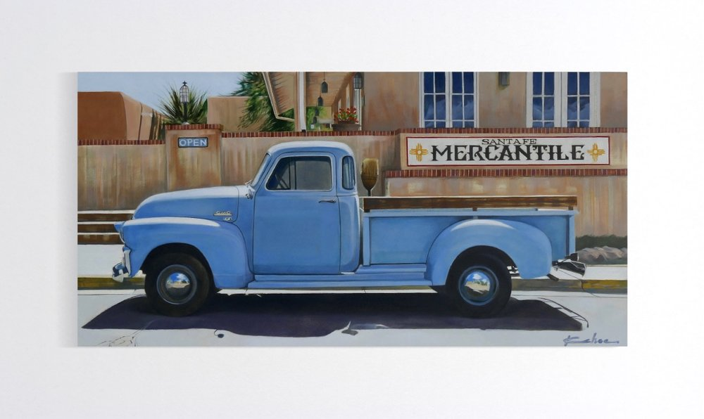 AVAILABLE THROUGH THE ALBUQUERQUE MUSEUM ARTSTHRIVE EXHIBIT UNTIL DECEMBER 3.  Title: TRUE BLUE  8 X 16, Oil on Board
