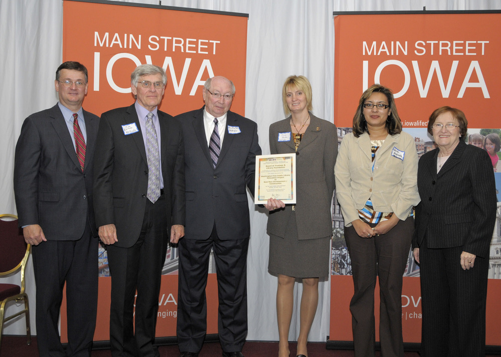 Main Street Iowa Annual Awards. Washington Public Library was nominated and awarded for Best New Construction, this project typifies the multiple stakeholder approach MSW uses daily.
