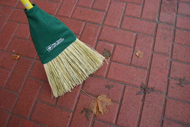 A broom gifted to downtown business owner's.