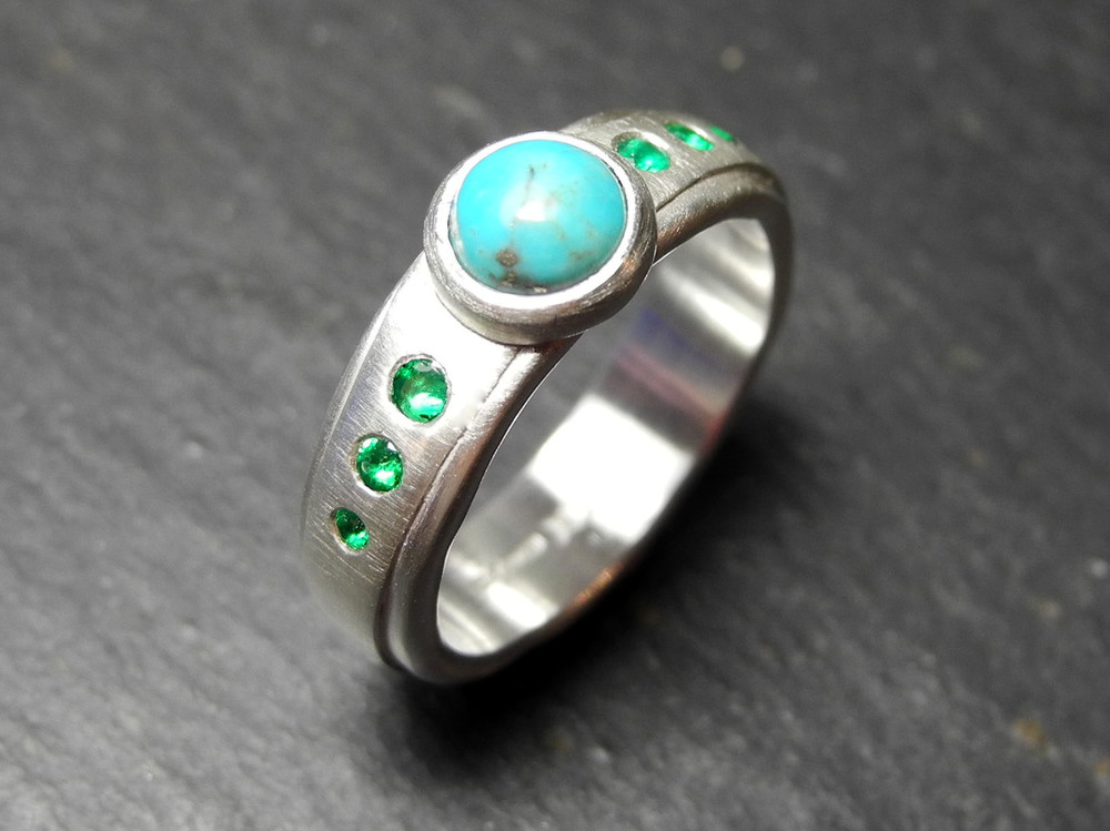 Turquoise and emeralds set in sterling silver