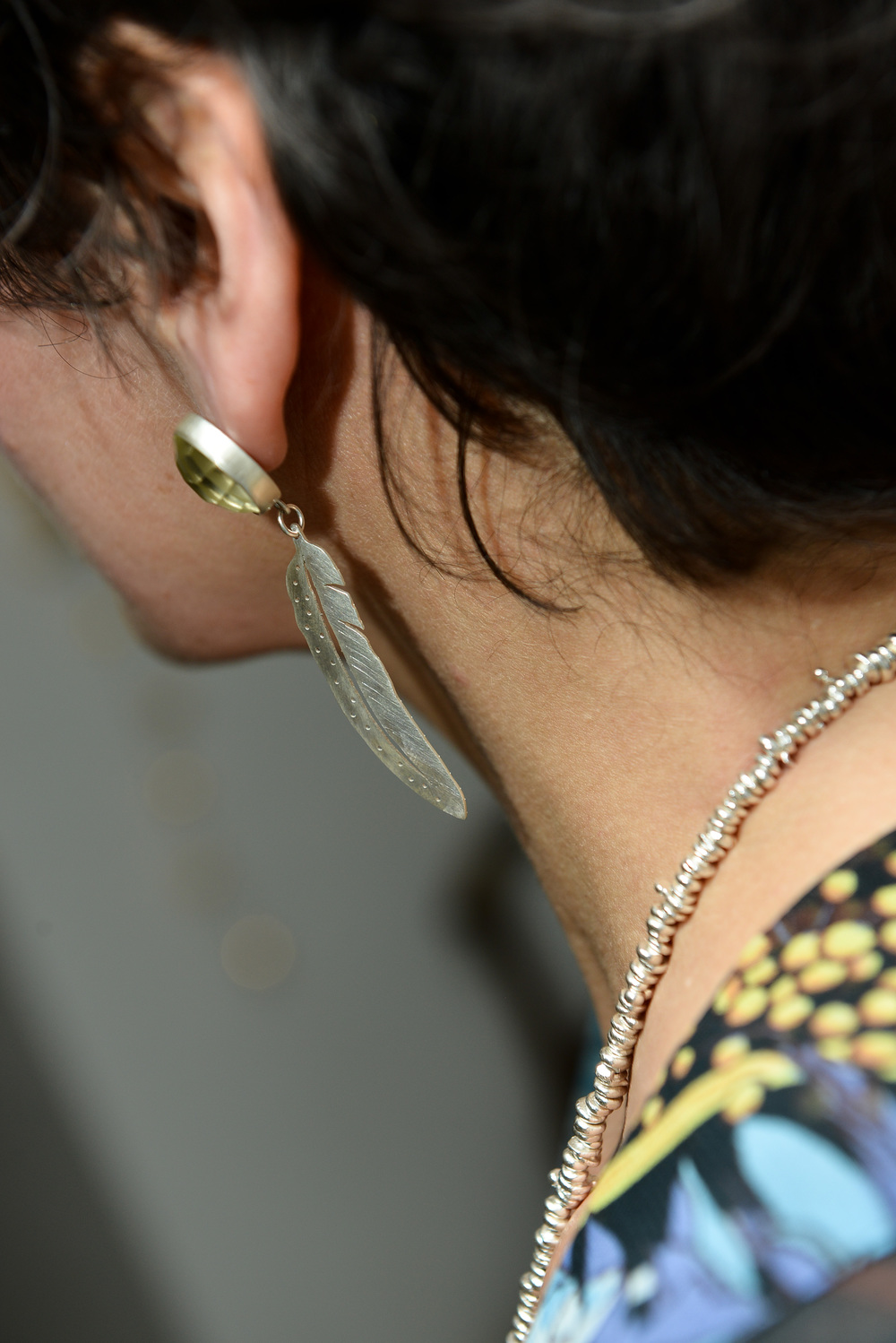 Feather earrings with lemon quartz