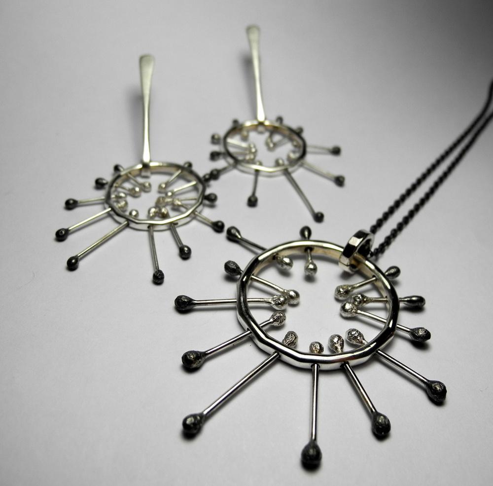Sputnik pendant and earrings