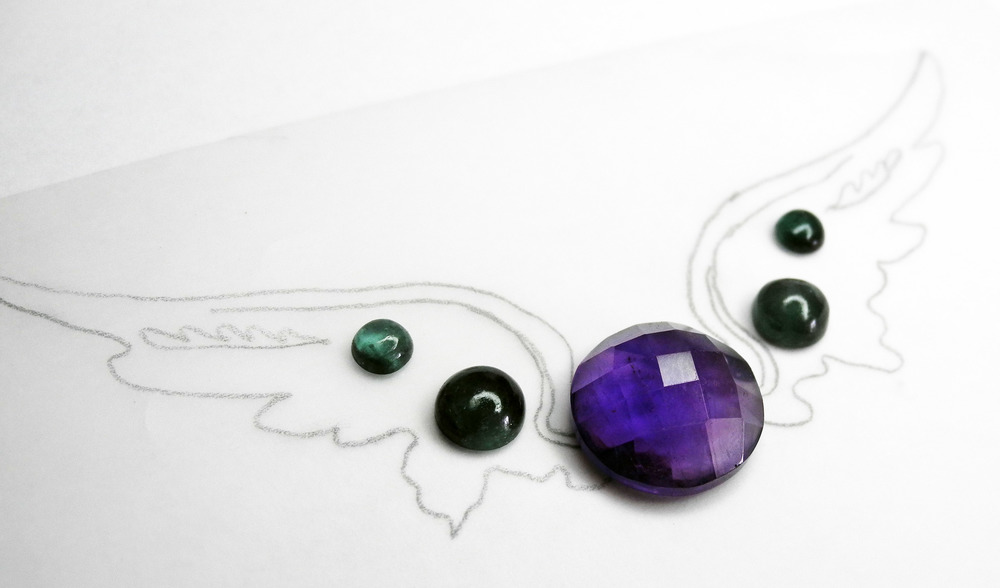 Working it out with amethyst and blue/green tourmaline