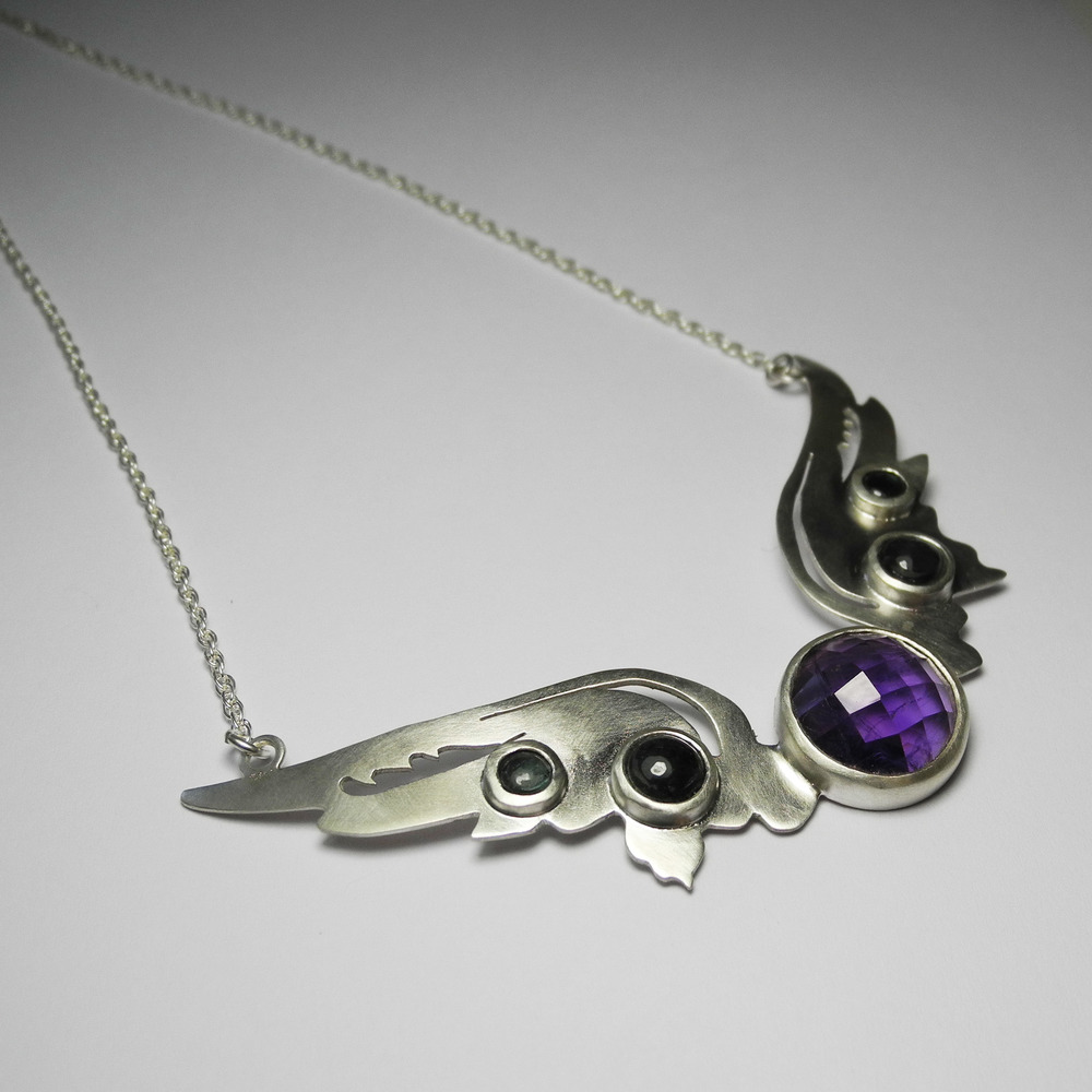 Hermes Wings pendant with amethyst and blue/green tourmaline