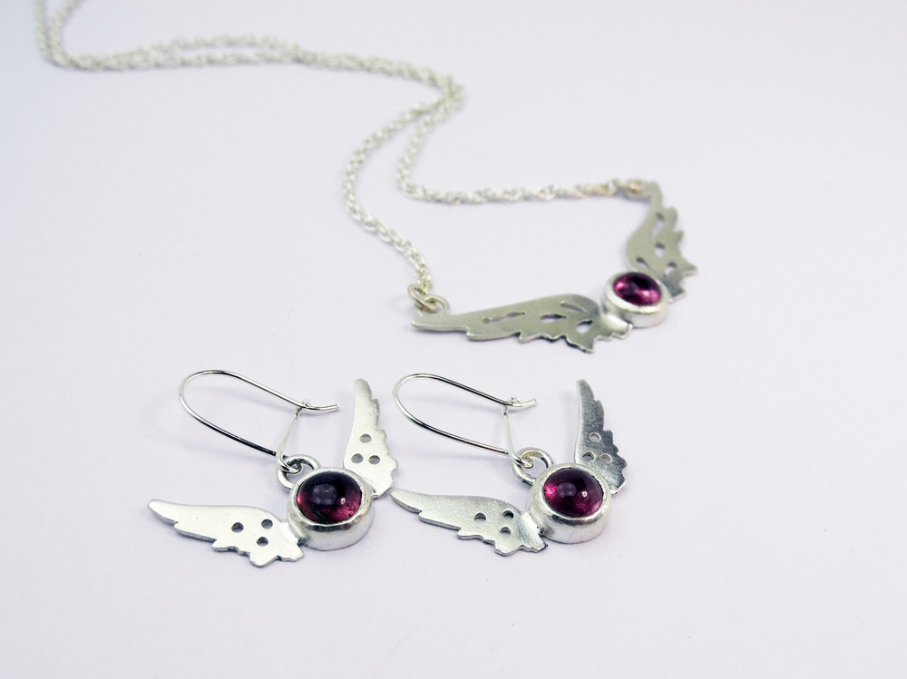 Tiny Wings earrings and pendant set with pink tourmaline