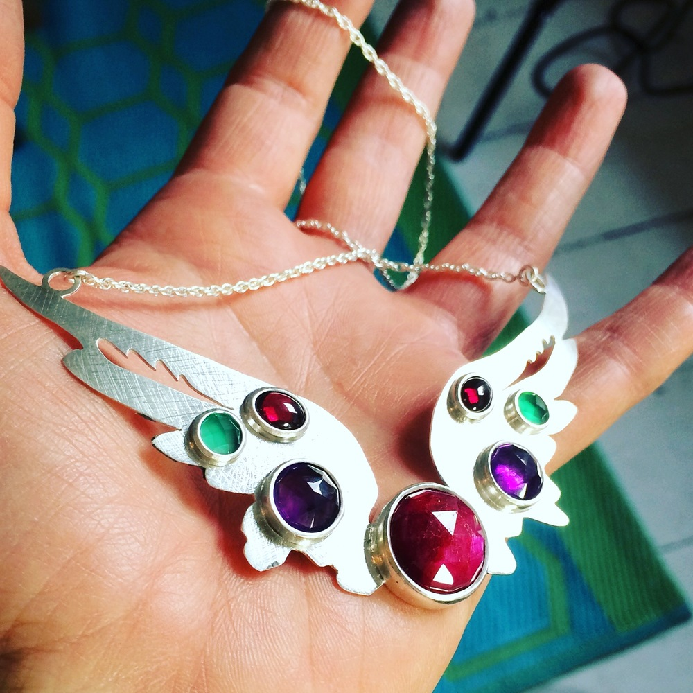 Large Hermes Wings pendant set with ruby, amethyst, green onyx and rubellite