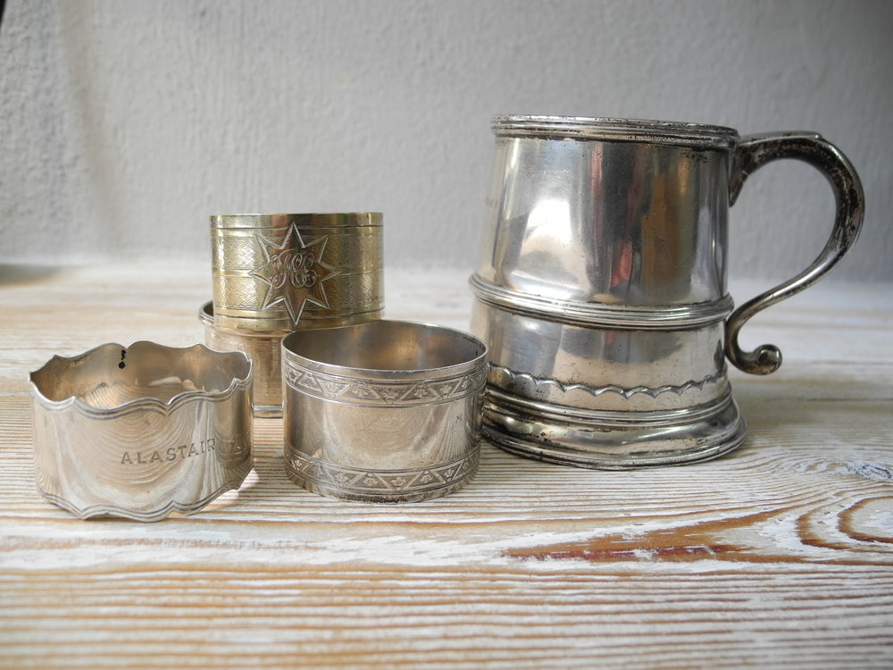 Tankard and napkin rings retrieved from Susannah's mother's house