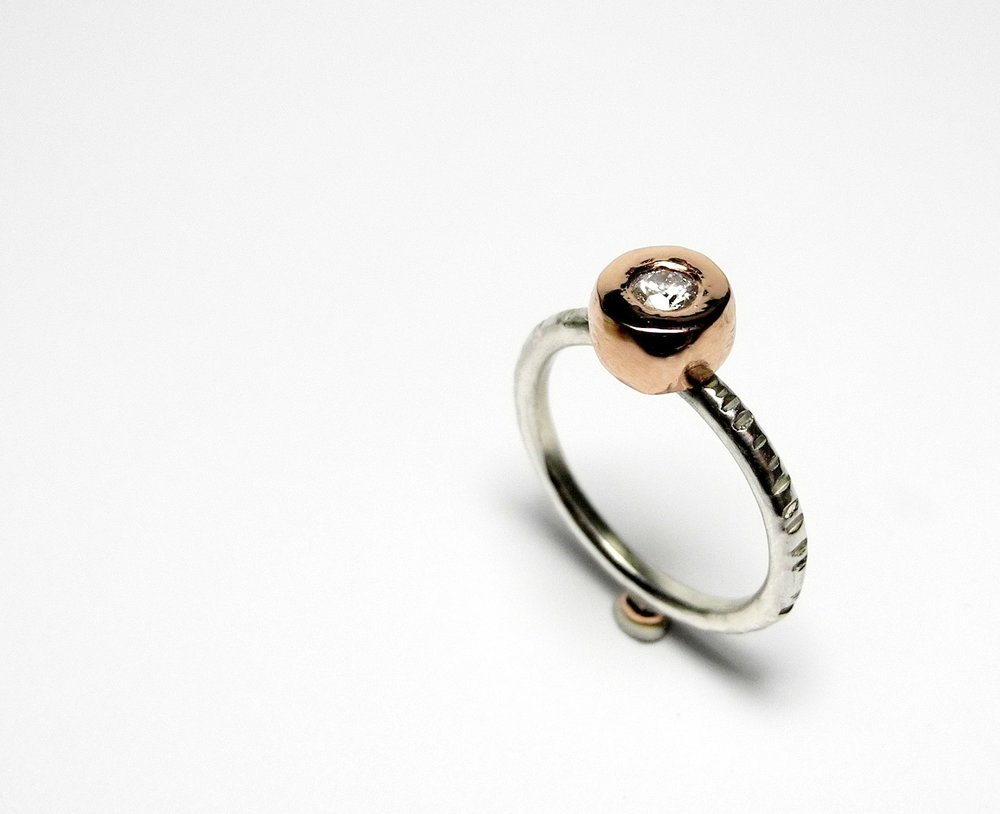 Juno ring in rose gold and sterling with diamond.