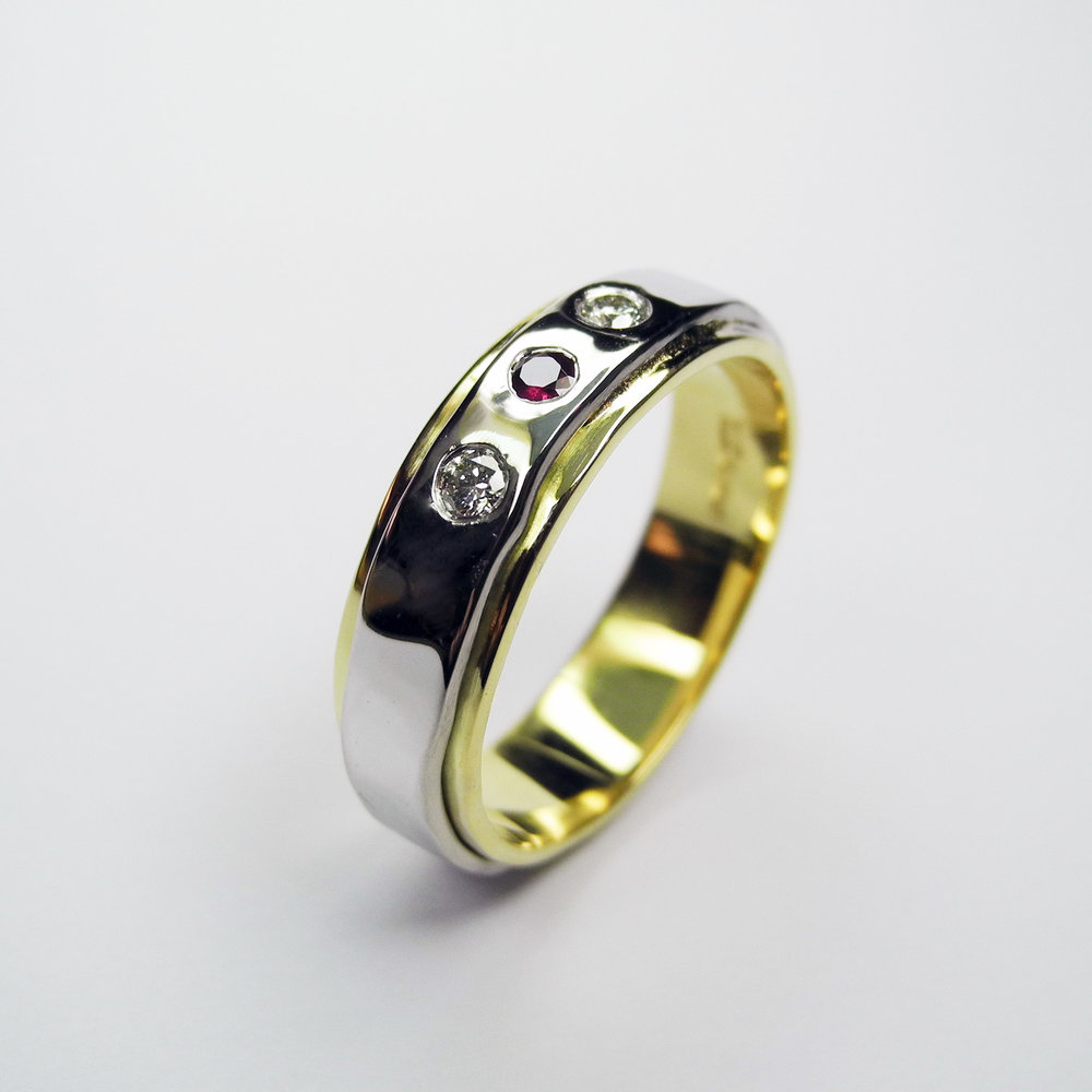 White and yellow 18ct gold with diamonds and ruby