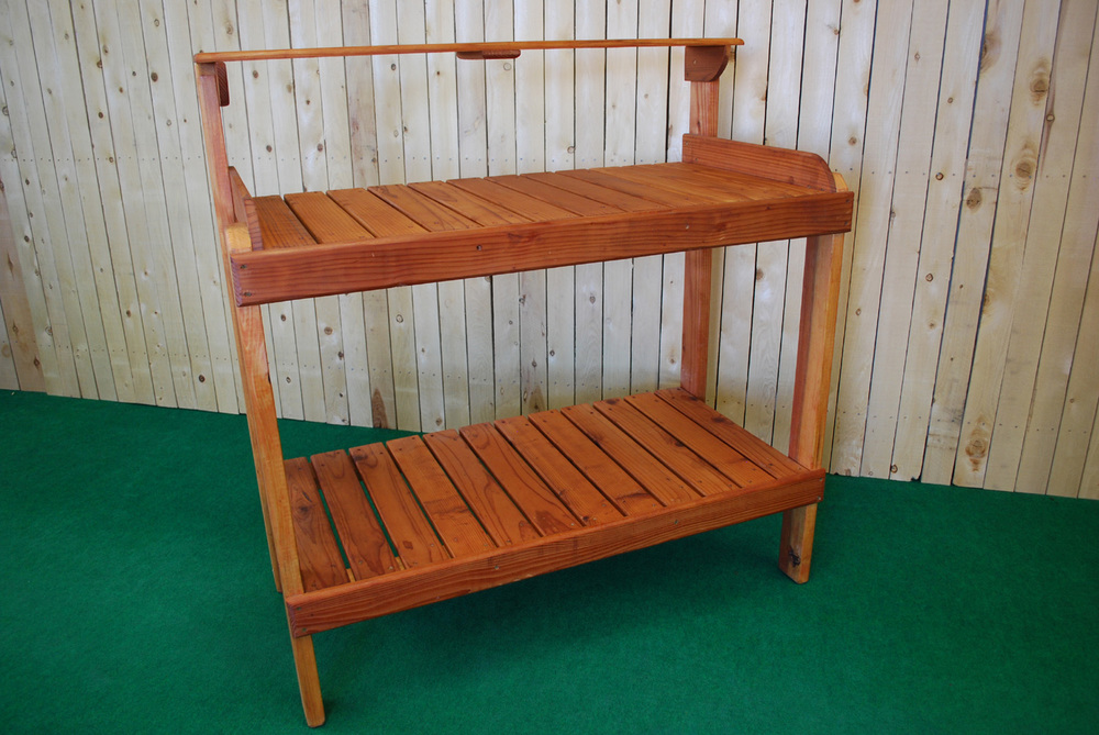 redwood potting bench