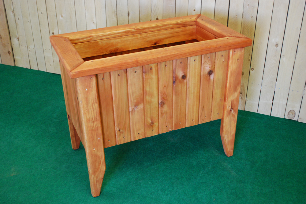 redwood rectangle planter with legs