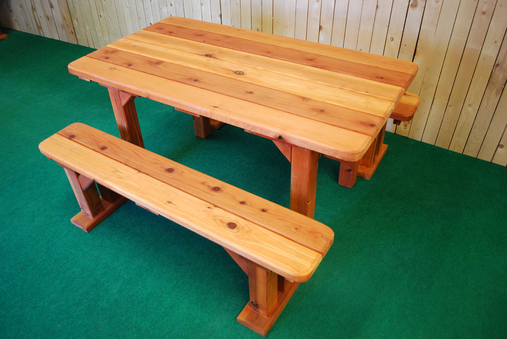 "60"" redwood rectangle picnic table"