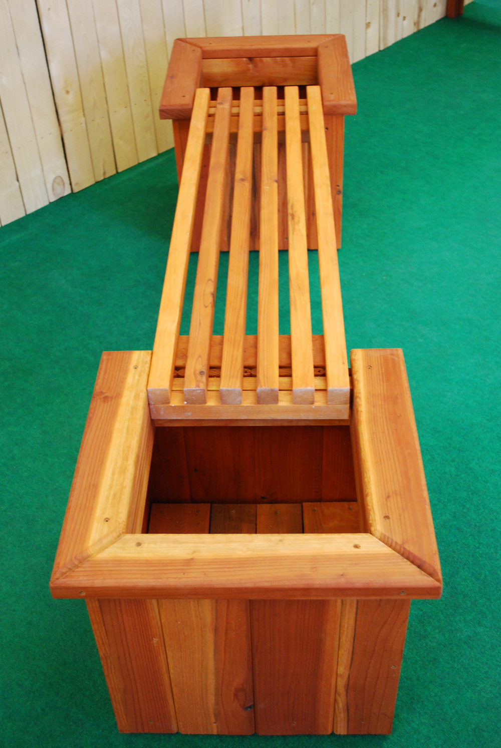 redwood straight planter and bench