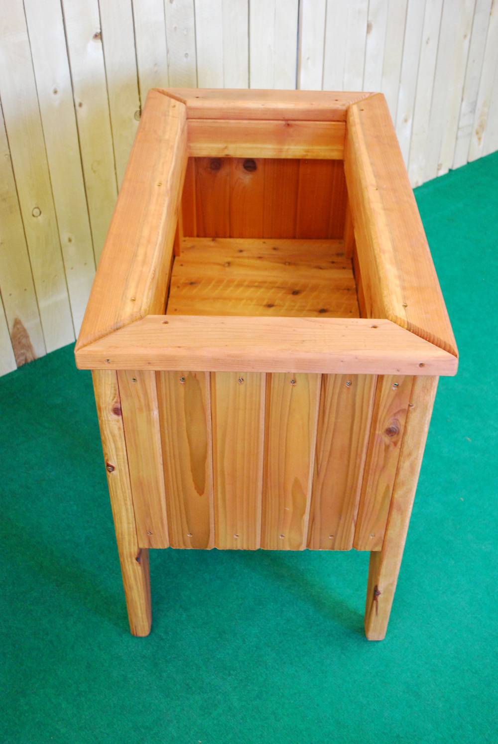 redwood planter with legs