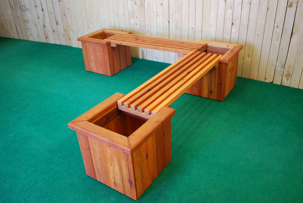 Pl Box L Shape Planter And Bench The Redwood Store