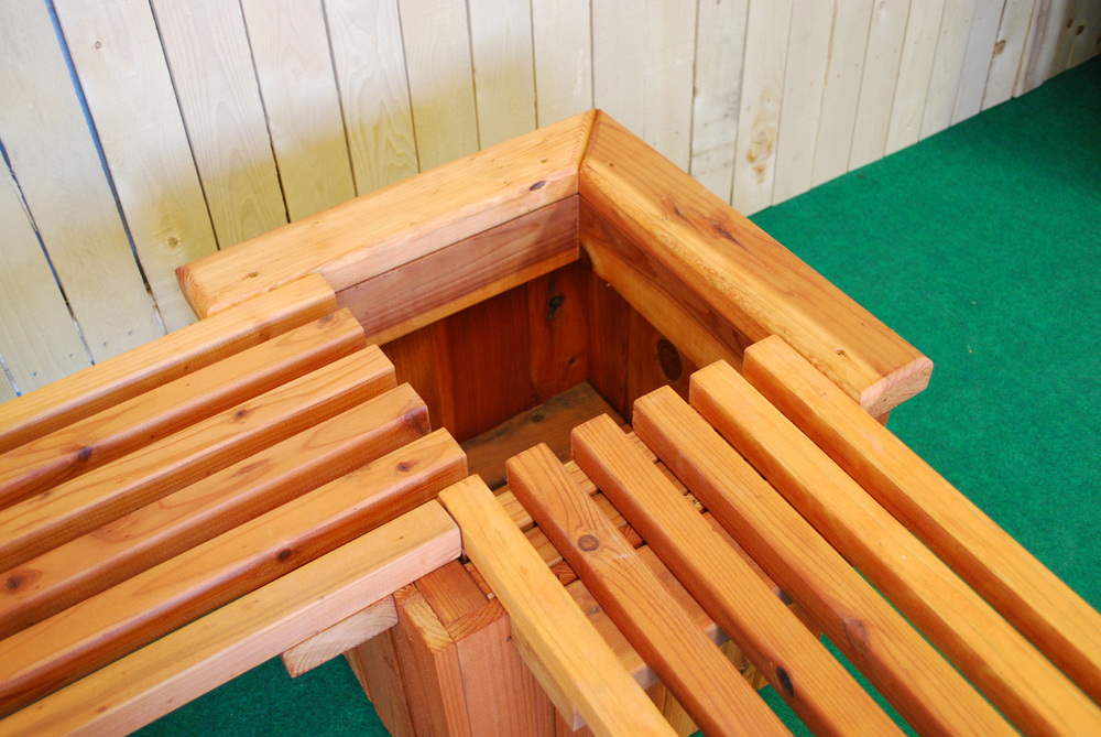 redwood planter and bench