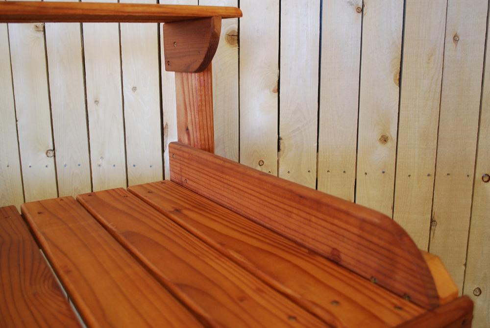 redwood potting bench