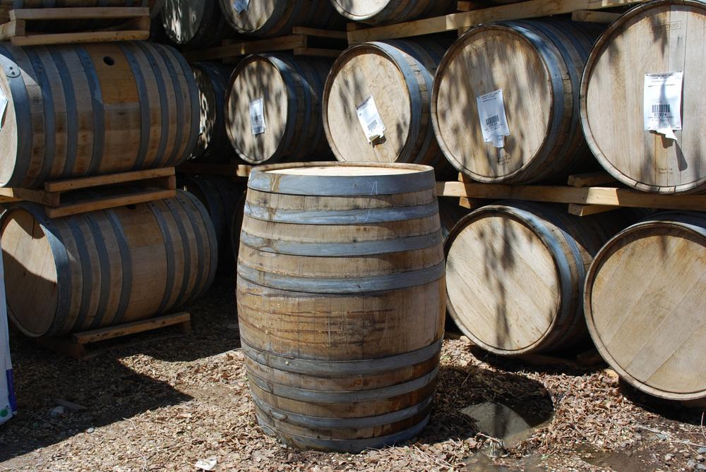 oak wine barrel planter