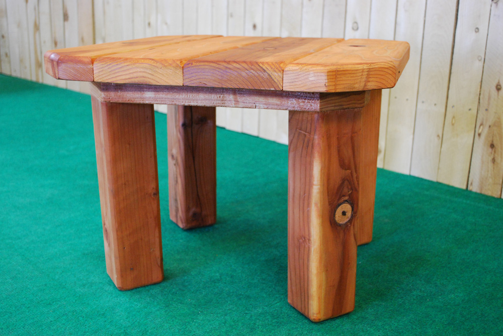 redwood octagon accent table