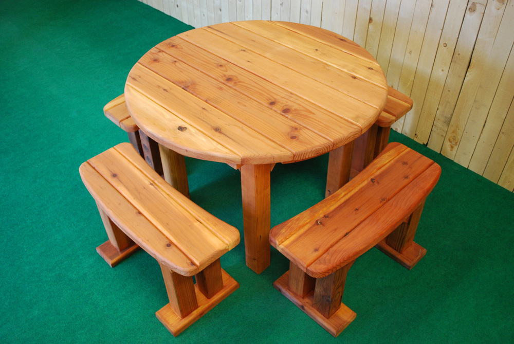 "48"" redwood round picnic table"
