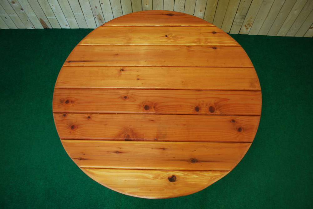 "44"" redwood round picnic table"