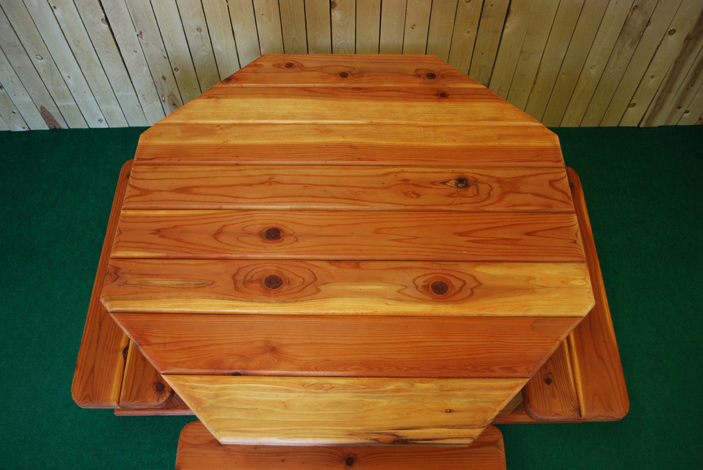 "48"" redwood octagon picnic table"