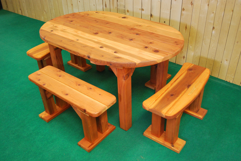 "60"" redwood oval picnic table"