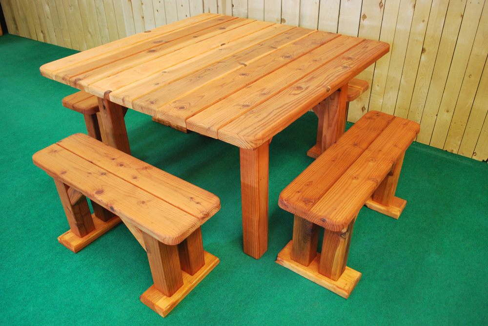 Tblang Square The Redwood Store - Square picnic table with benches