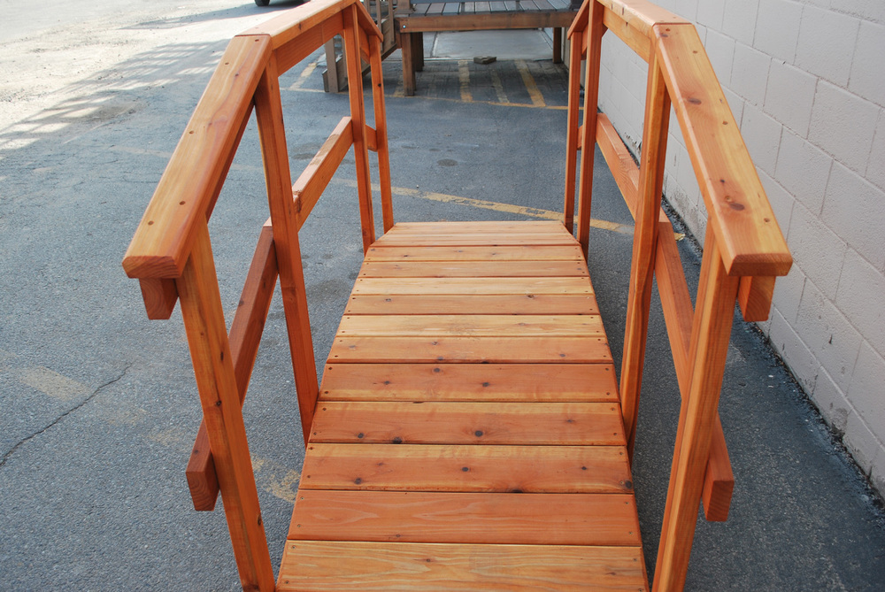 "8' redwood bridge w/ 36"" handrail"