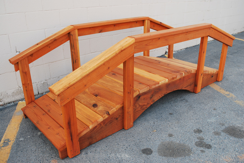 "8' redwood bridge with 17"" high handrail"