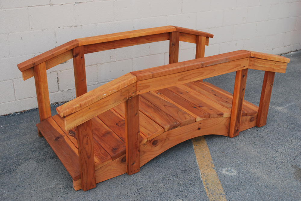 "6' redwood bridge with 17"" high handrail"