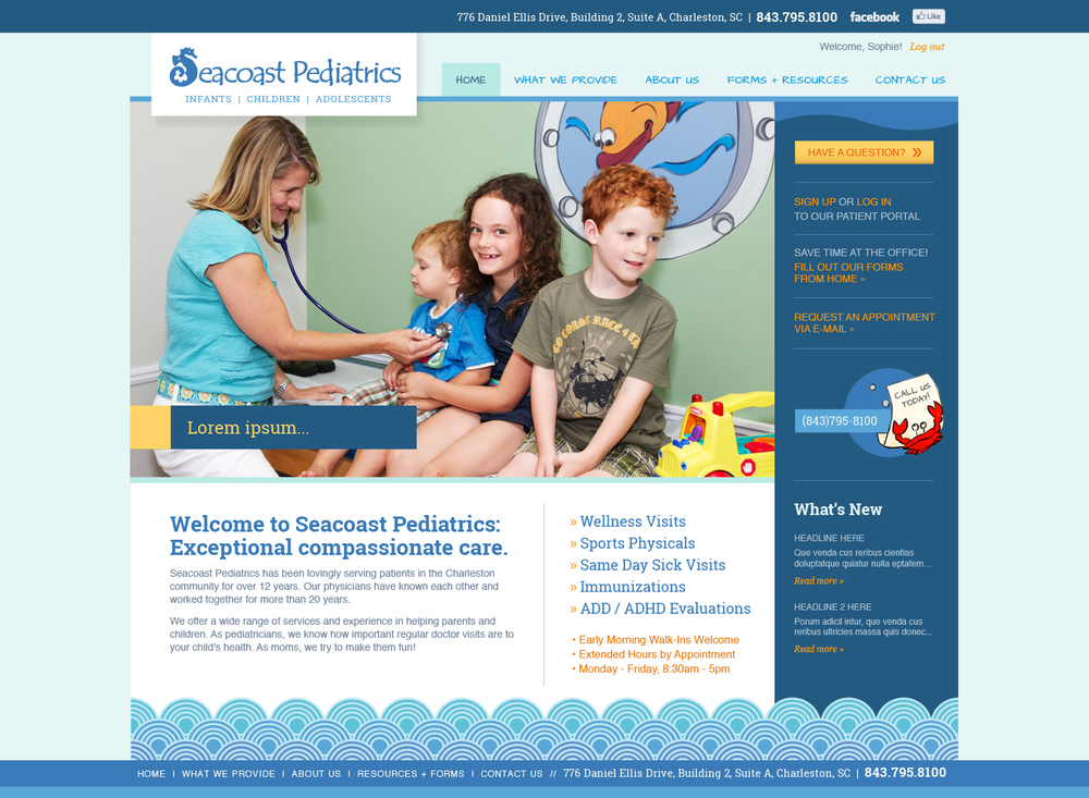 Seacoast Pediatrics  / Collaboration with Harmonic Energies Web Consulting