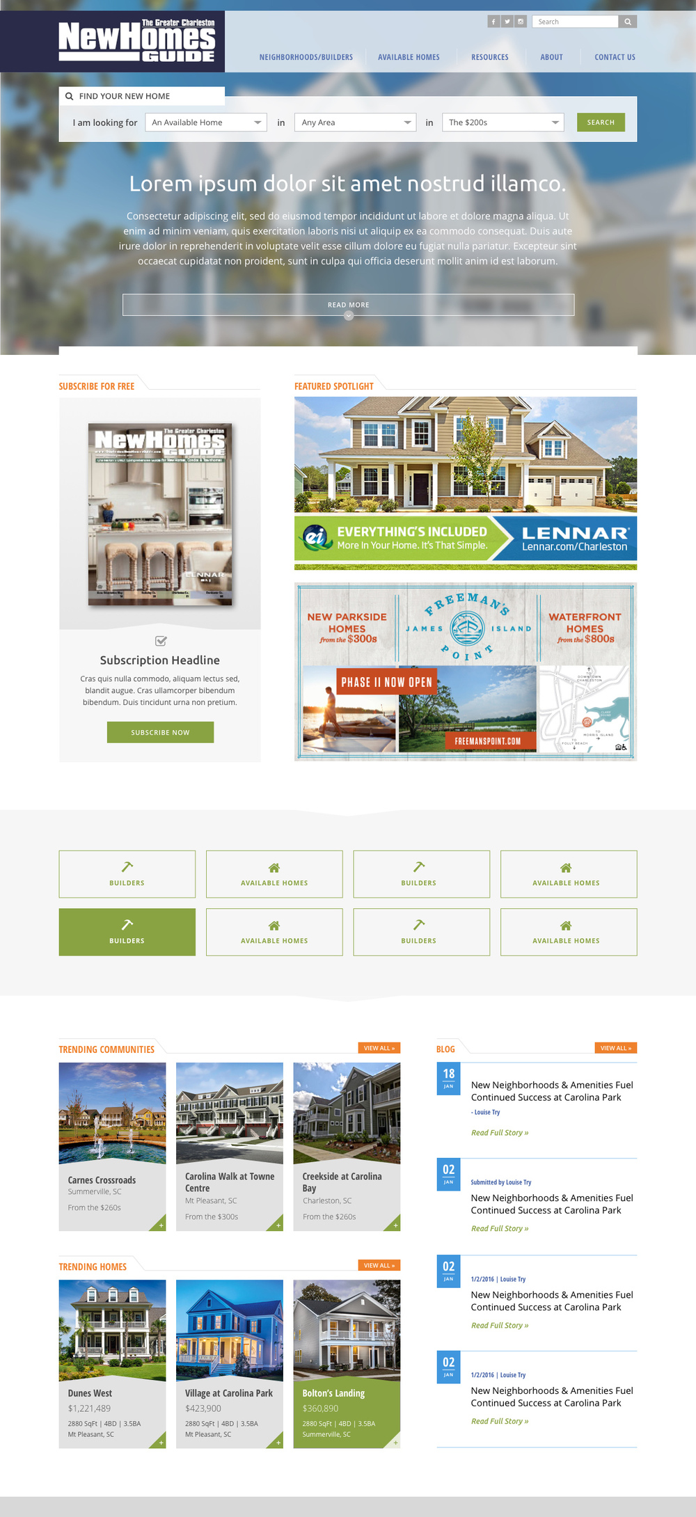 New Homes Guide  - in progress / Collaboration with BlueKey Inc.