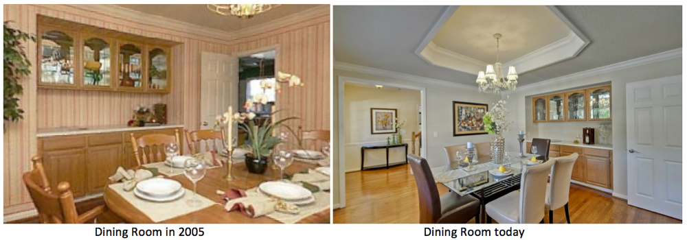 The flooring and cabinetry are unchanged in the dining room, but again, the tray ceiling is the biggest improvement.