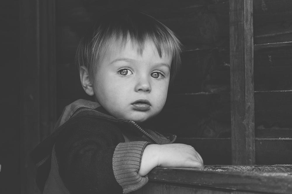 Little boy in cubby!