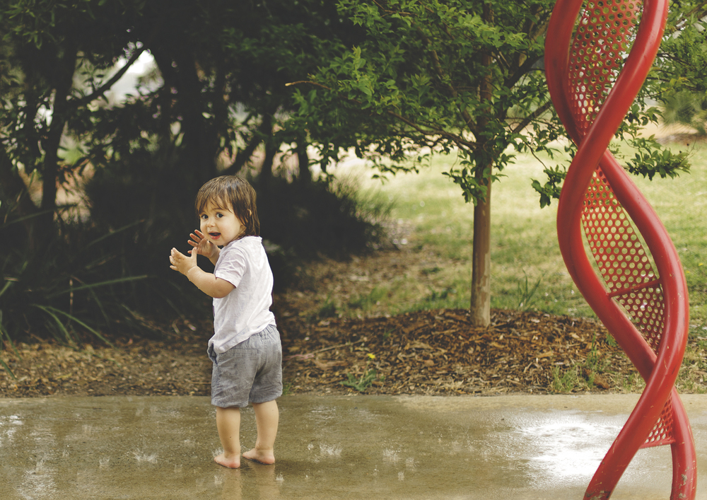 Baby experiencing rain!