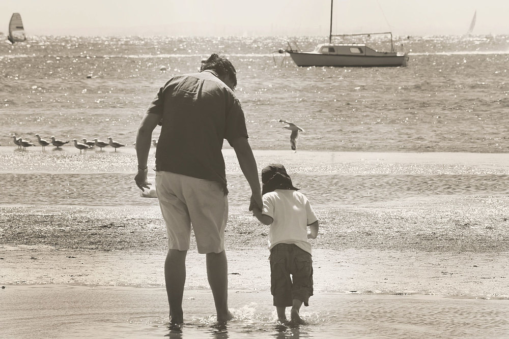 Father and son at the beach