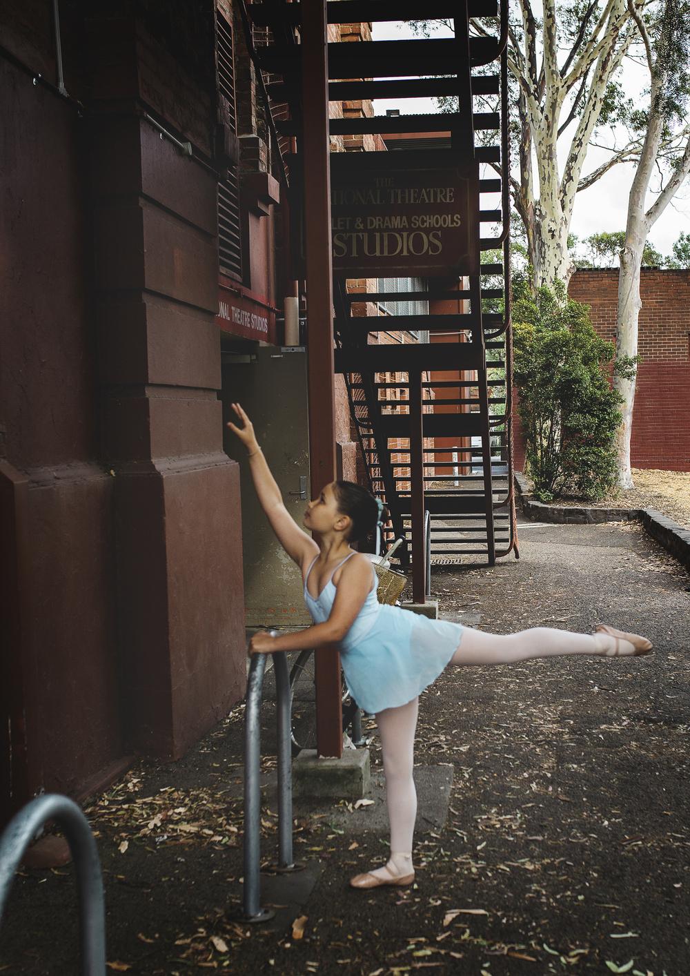 Little girl waiting for Ballet rehearsal!