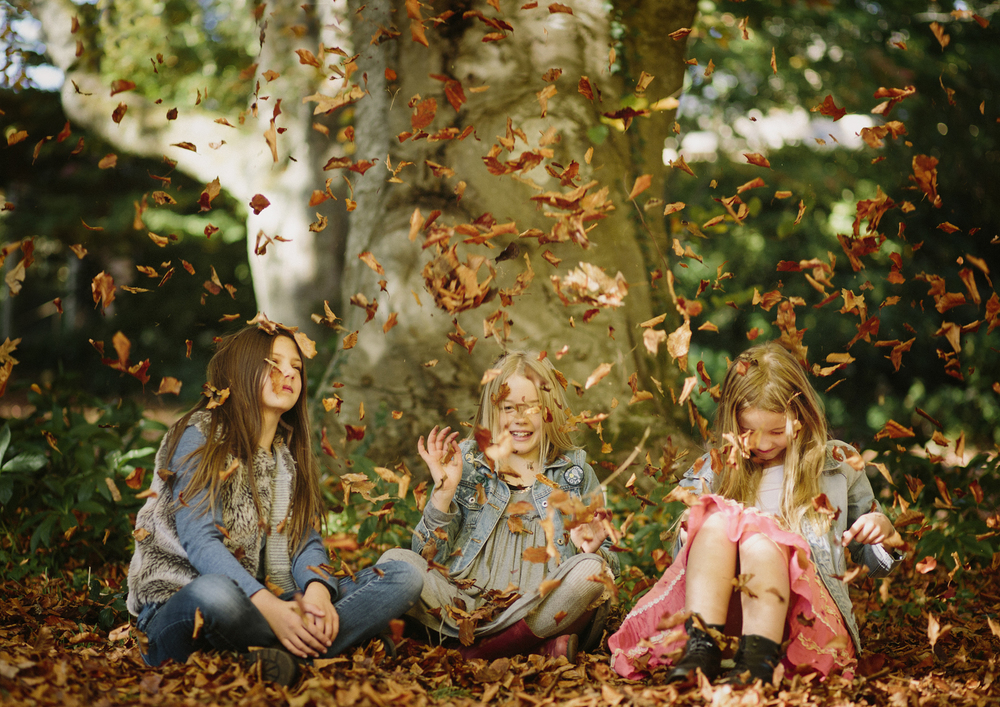 Children playing tossing Autumn leaves!