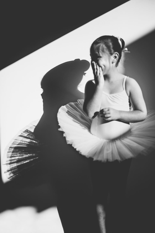 Black & White photo of little girl in tutu!
