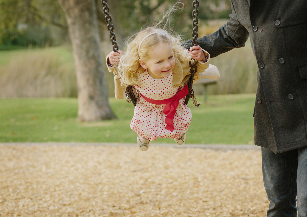 Child playing on the swings!